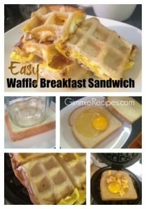 Easy Waffle Breakfast Sandwich w/ Egg, Ham & Cheese